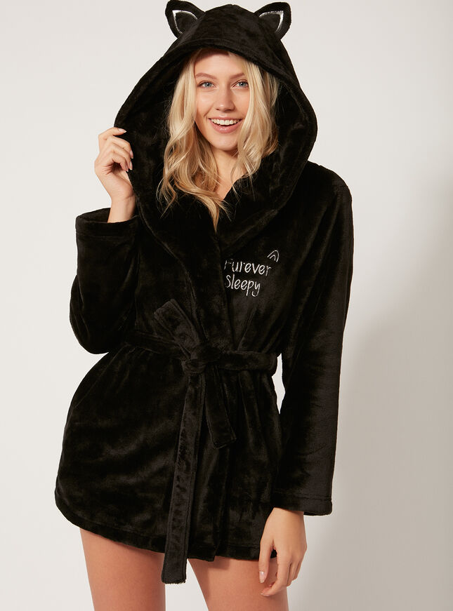 Black Cat Dressing Gown Boux Avenue