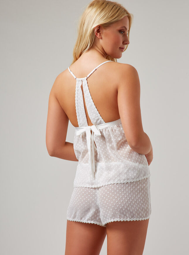 Chiffon and daisy trim cami set