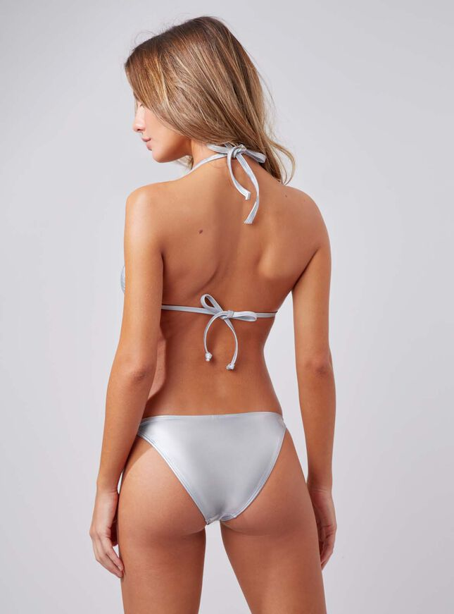 Sassel metallic triangle bikini top