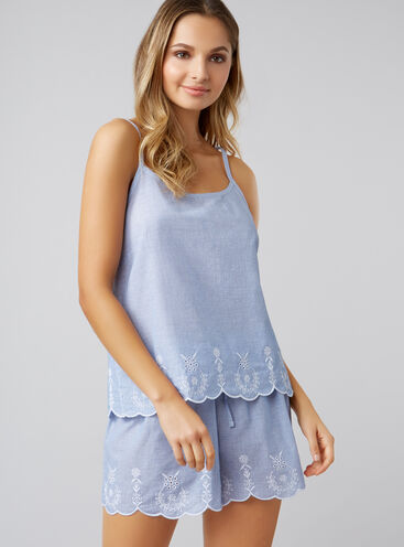 Embroidered scallop cami and shorts