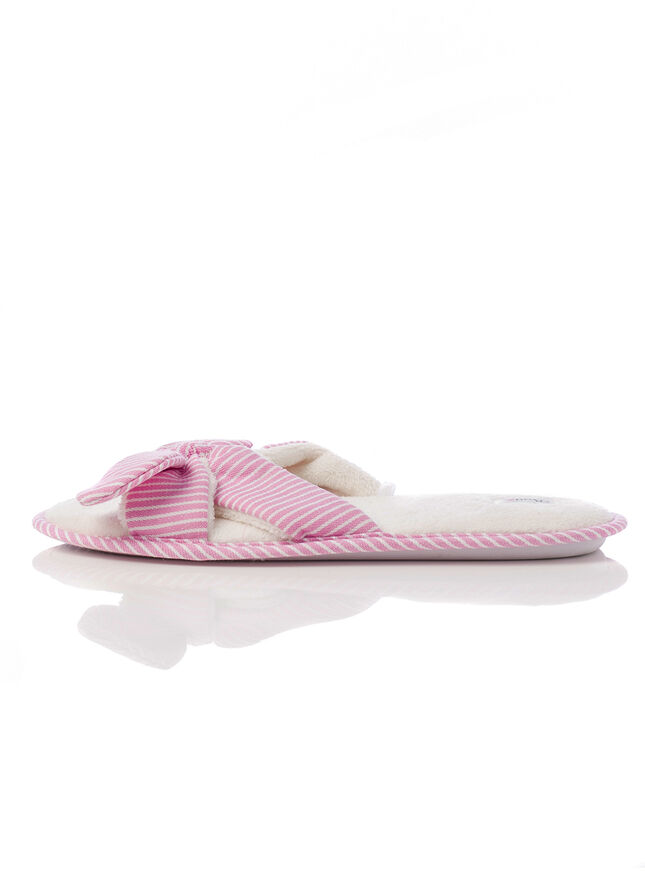Stripe bow slippers