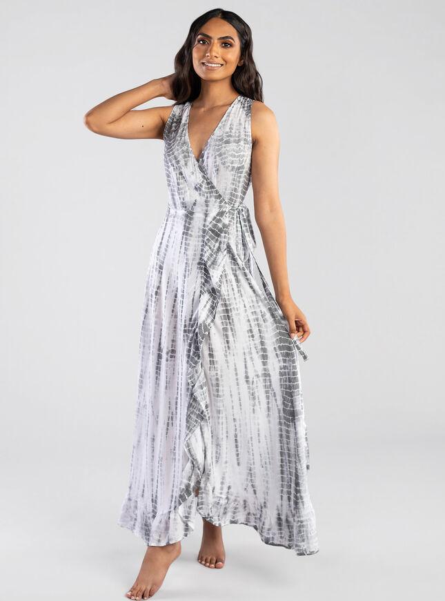 Wrap grey tie dye dress