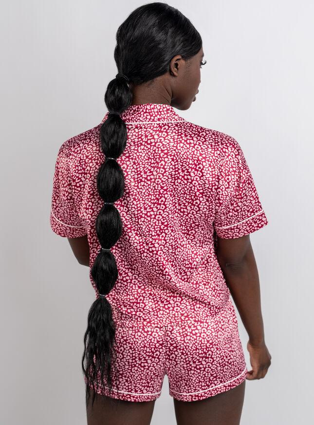 Leopard satin revere & short