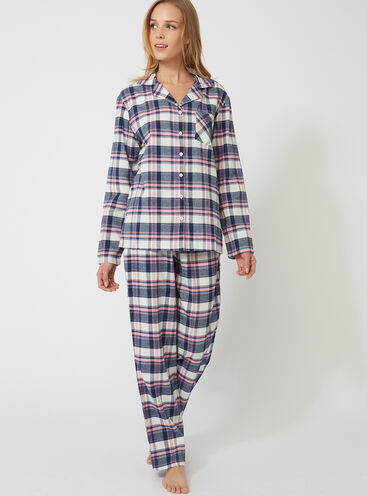 Navy check PJs in a bag