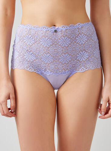 Crochet lace high-waisted briefs