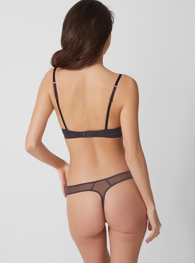 Dark rose embroidered thong