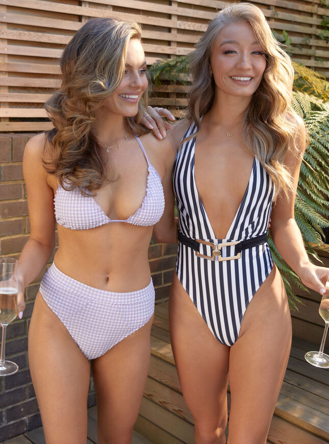 Paros check triangle bikini top