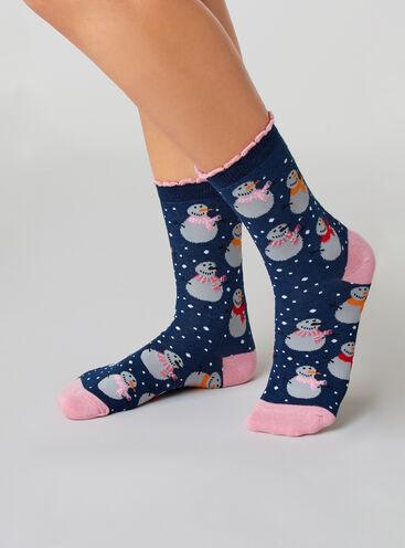 Snowman socks in a bag