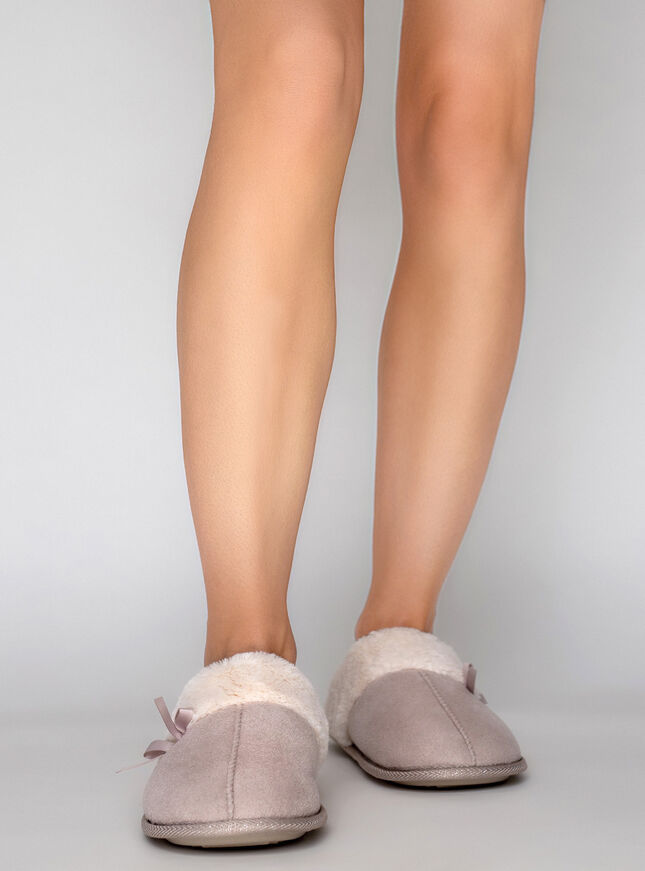Suedette cuff slippers