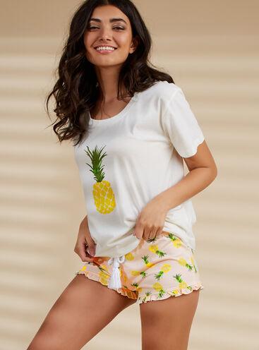 Pineapple tee and shorts pyjama set