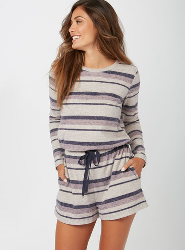 Henley stripe playsuit