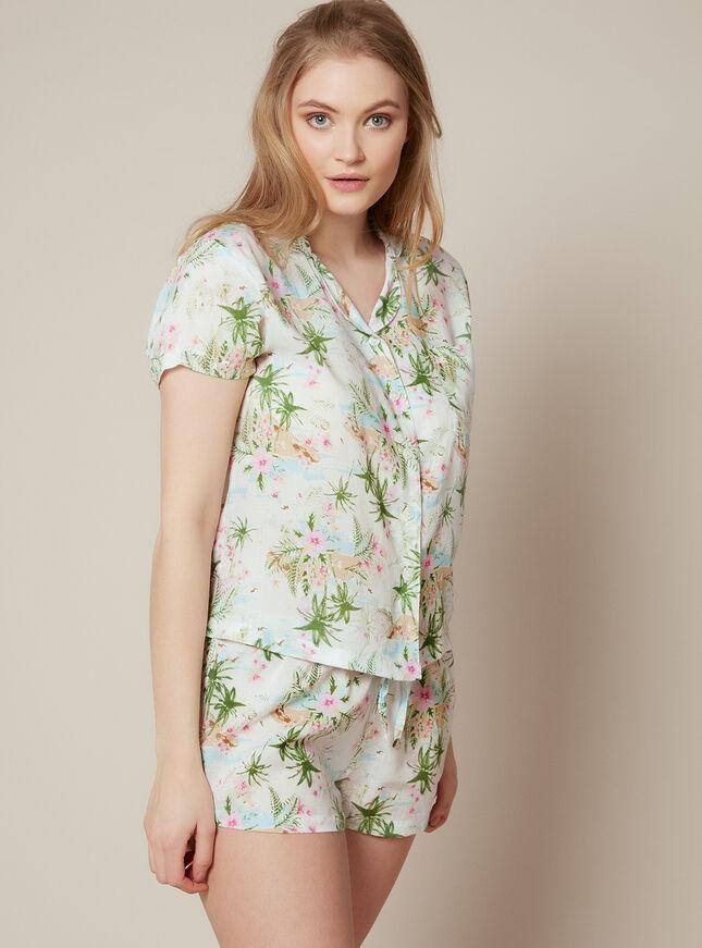 Palm print short revere pyjama set