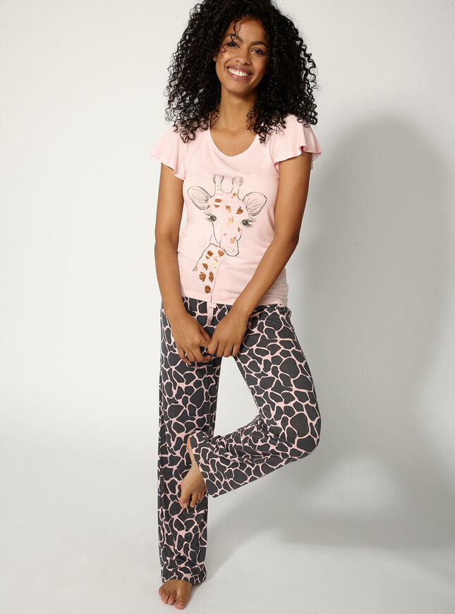 Giraffe tee and pants set