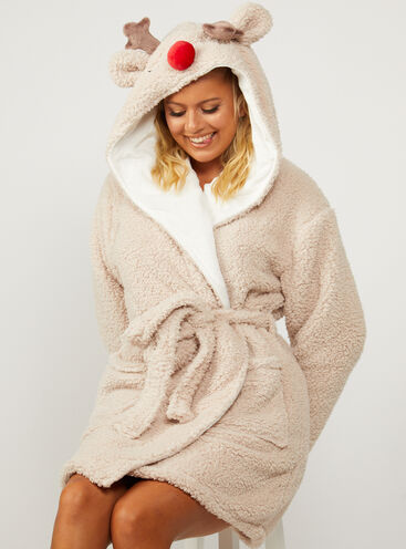 Hooded reindeer borg short dressing gown