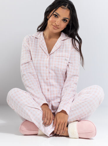 Pink gingham matching pyjamas in a bag