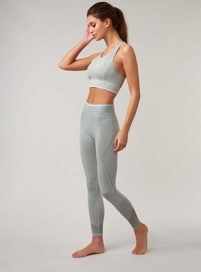 Boux Sport jacquard mesh crop top