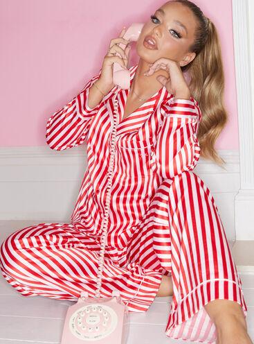 Candy stripe satin revere pyjama set