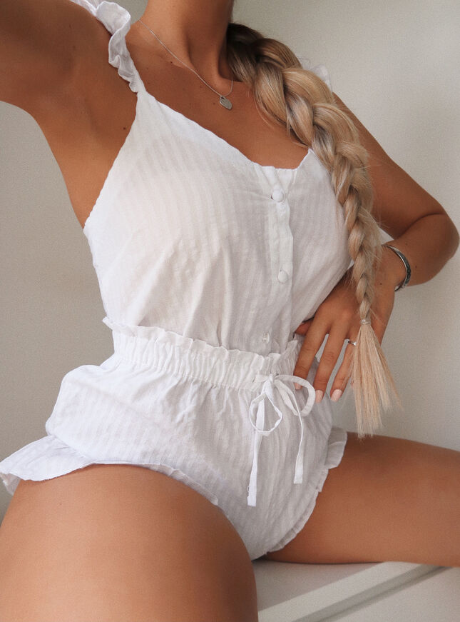 Textured stripe cami and short set