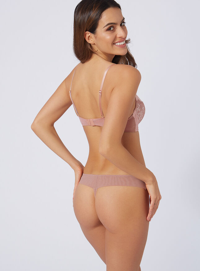 Pansy embroidered thong