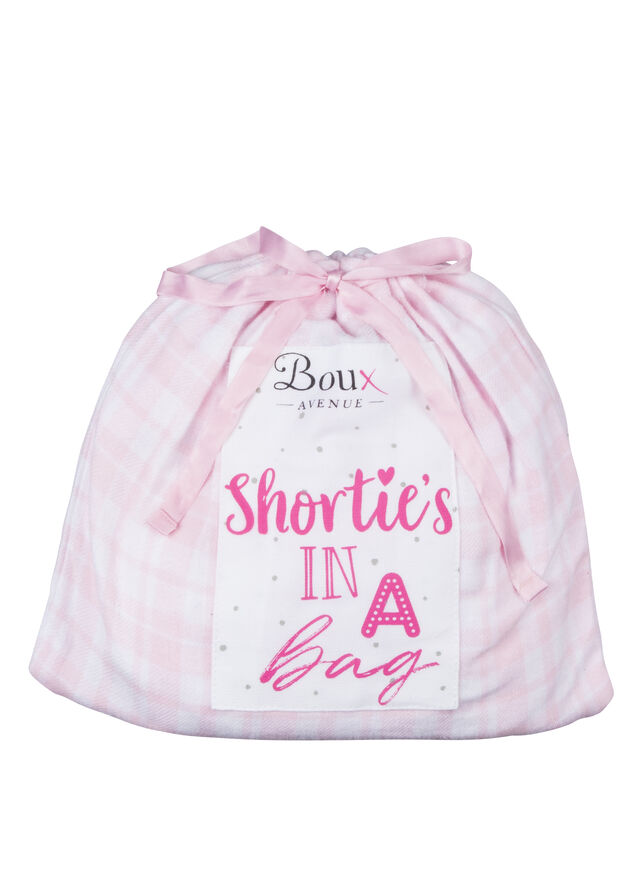 Pink gingham shorties in a bag