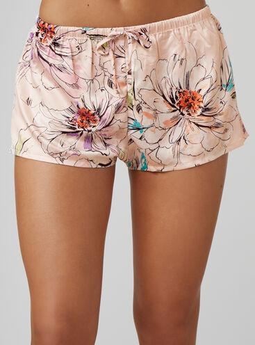 Sketchy floral satin shorts