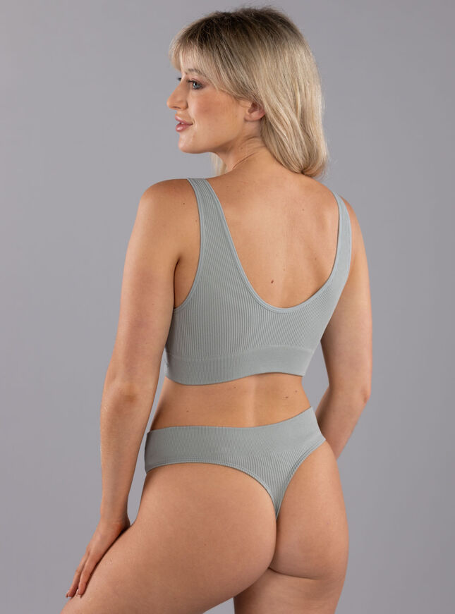 Rib seamless lounge thong