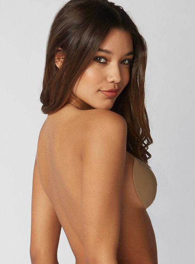 Lace-up stick on bra