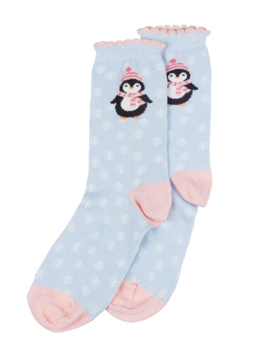 Penguin socks in a bag