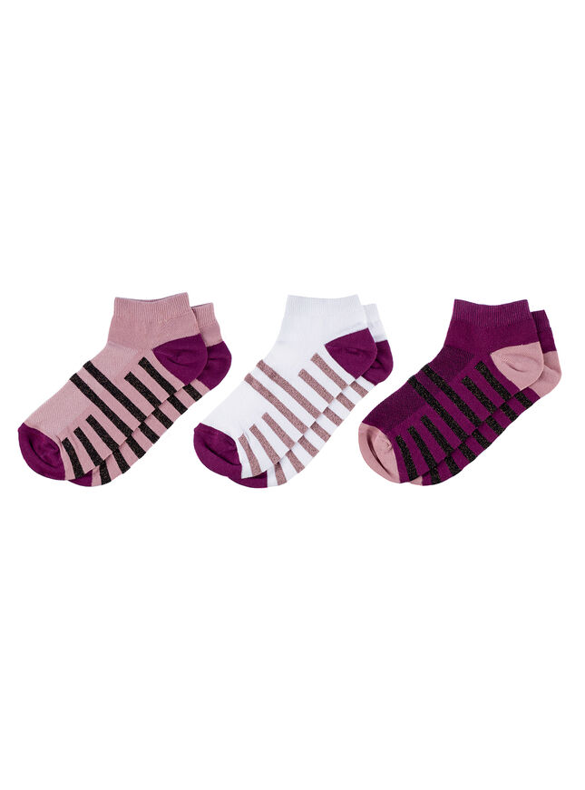 3 pack sport lurex trainer socks