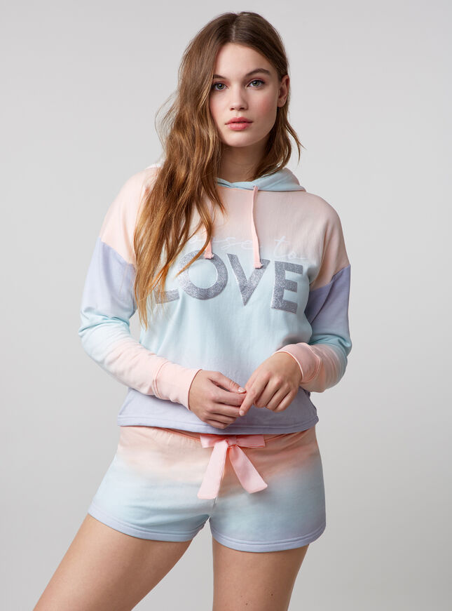 """Choose to love"" ombre hoody and shorts set"