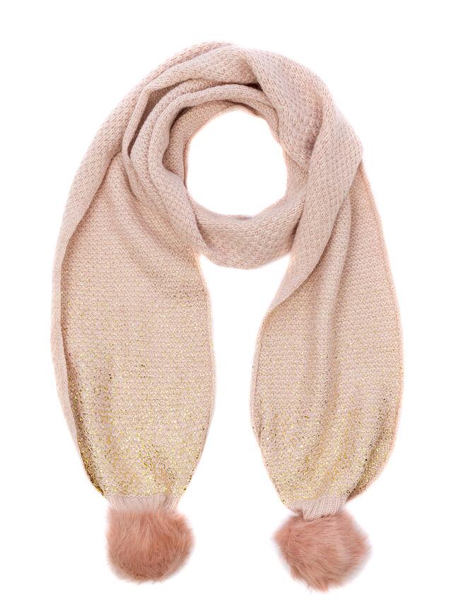 Foiled pom pom scarf