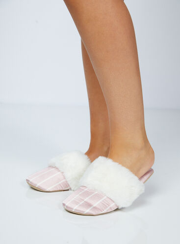Stripe satin slippers in a bag