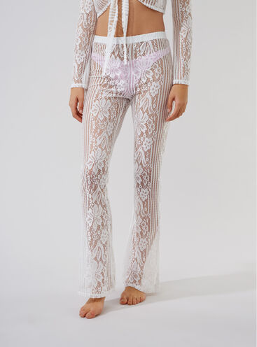 Lace flared beach trousers