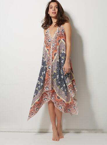 Tile print beach dress