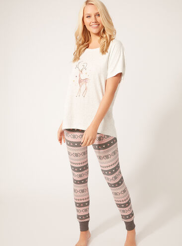 Deer tee and Fairisle leggings set
