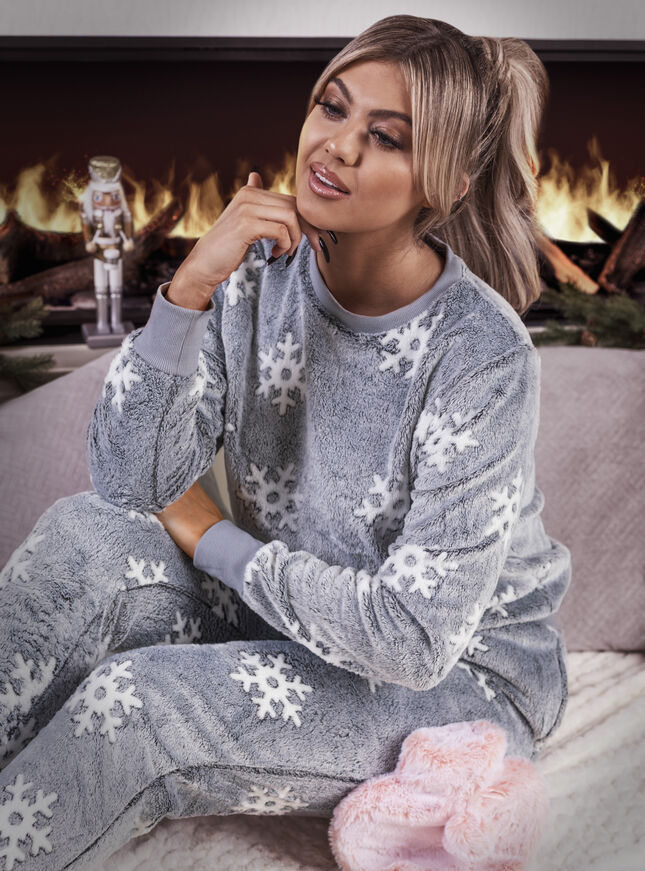 Snowflake plush jogger set