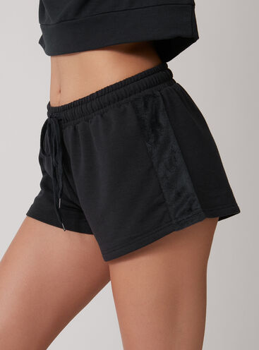 Velour mix shorts