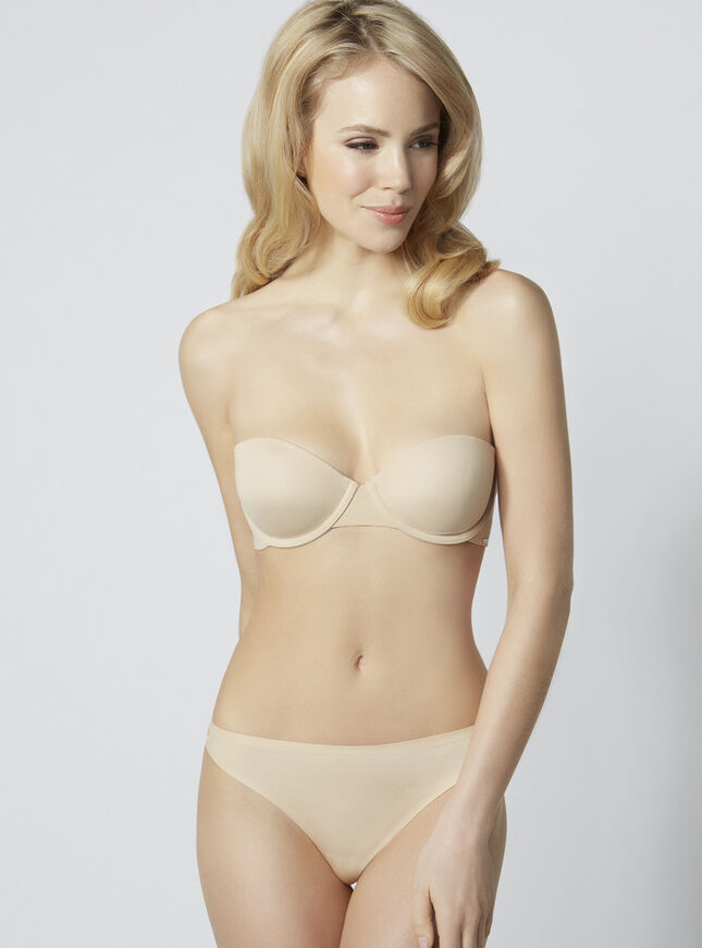 Microfibre moulded strapless bra