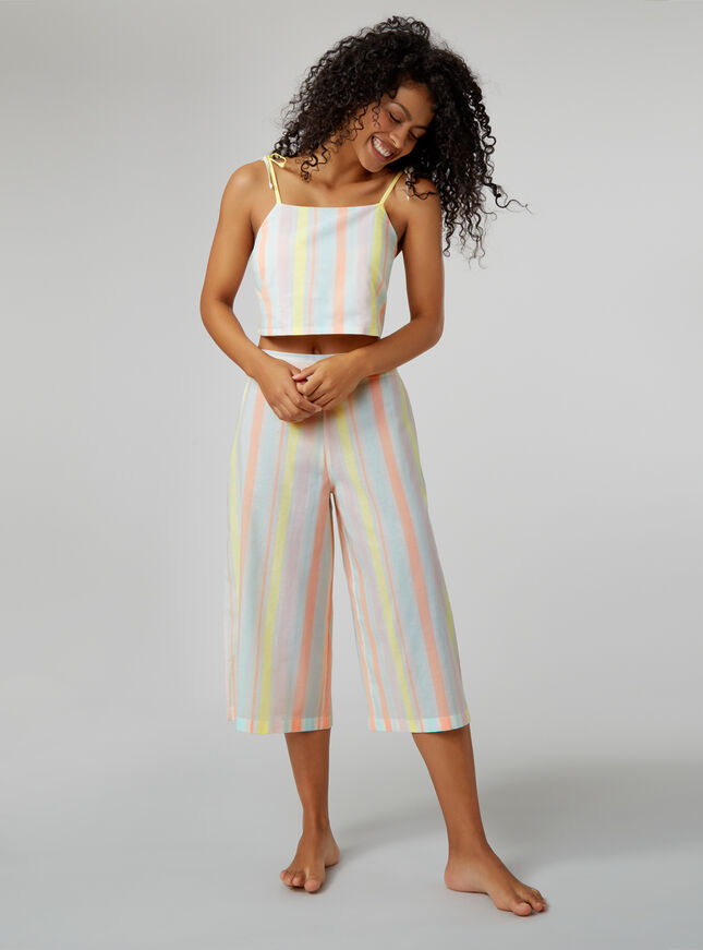 Sorbet stripe crop culotte set