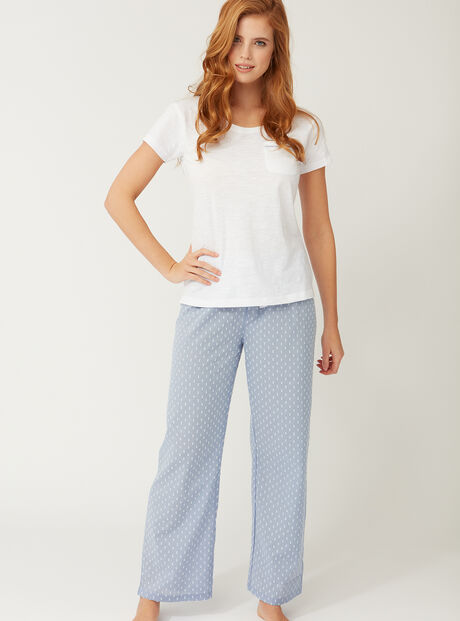 Tee and dobby pants pyjama set