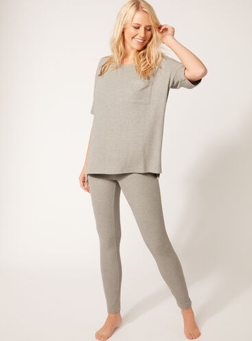 Rib knit tee and leggings set