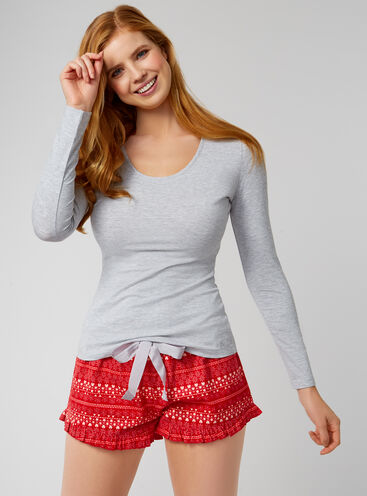 Fairisle long sleeve shorties in a bag
