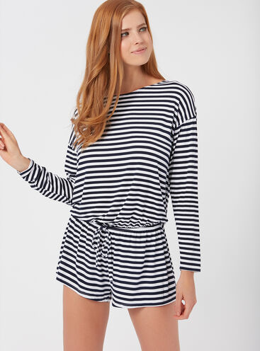 Stripey jersey playsuit