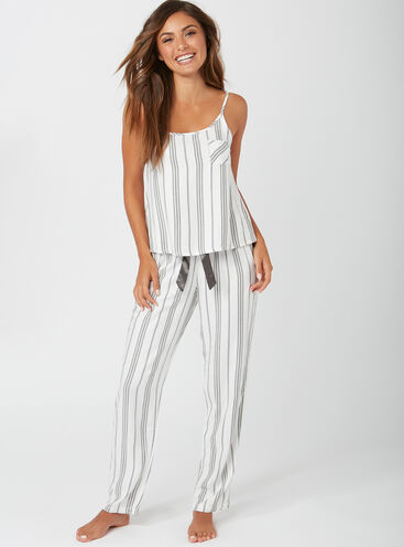 Mono stripe cami and pants pyjama set