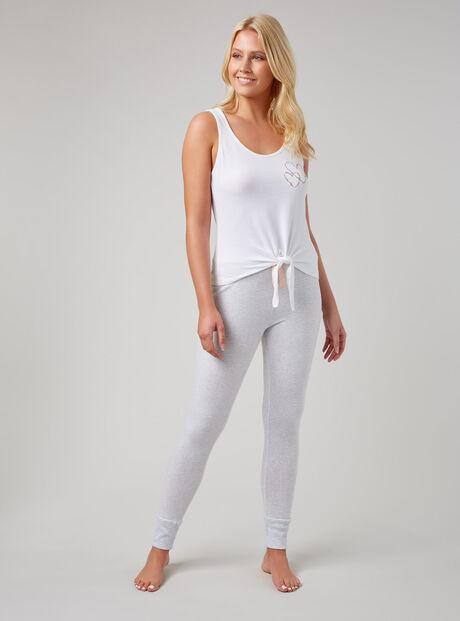 Heart vest and stripe leggings pyjama set