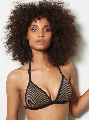 Metallic stripe triangle bikini top