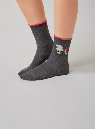 2 pack poodle and stripe socks