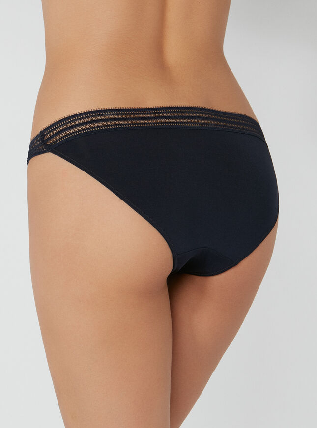 Stripe mesh tanga briefs