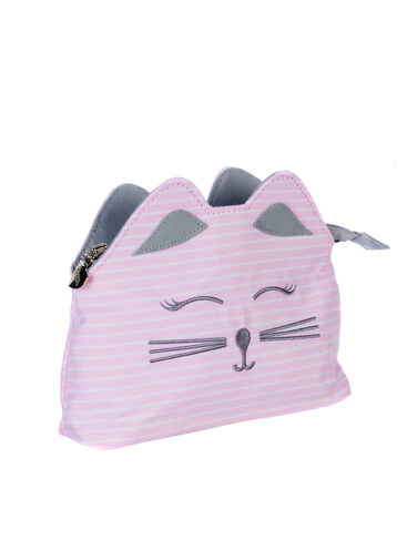 Pinstripe cat cosmetic bag