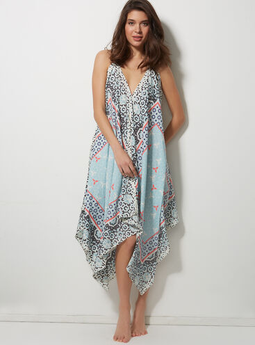 Scarf print beach dress
